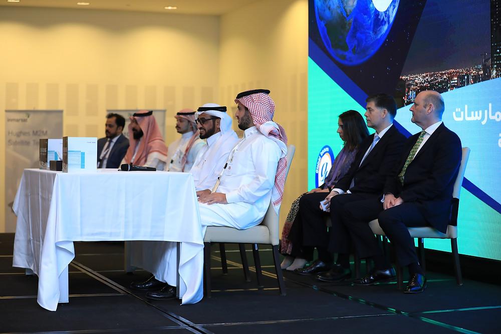 Khaled al Saleh (CITC), Abdullah Sulaiman (Sada), Neil Pringle (Inmarsat), Ronald Spithout (Inmarsat), Zeina Mokaddem (Inmarsat), Faris al Alam (CITC), Malik Sulaiman (Sada), Shabeer Mohammad (Global Beam Telecom)