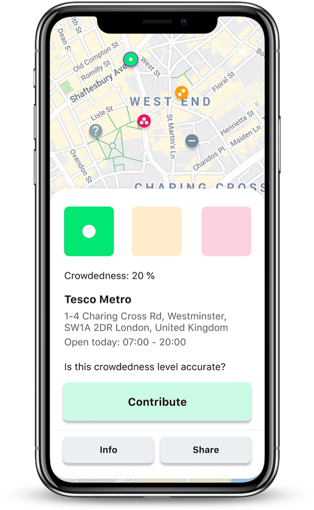 Crowdless mobile phone app shows when shops are crowded