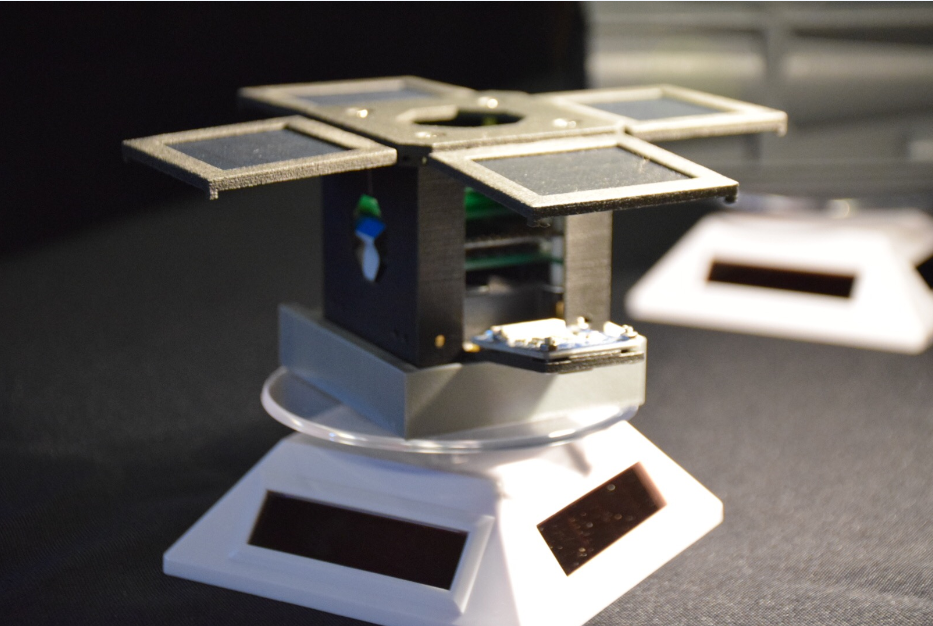 The Discovery 1a engineering model, manufactured by CRP USA for Mini-Cubes using Laser Sintering process and Windform® XT 2.0 Carbon reinforced composite material, on display at the 3rd PocketQube workshop in Glasgow, Scotland. Courtesy of Mini-Cubes