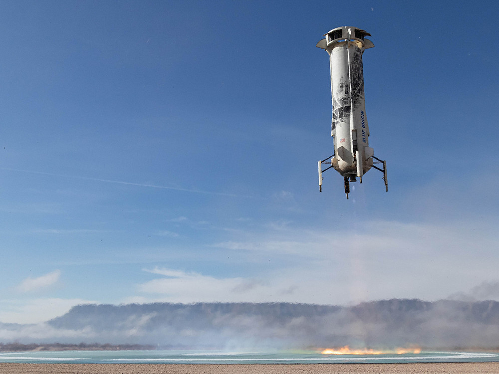 The New Shepard booster lands after this vehicle's 6th consecutive flight on December 11, 2019.