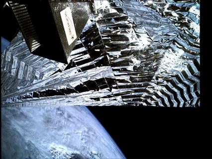 TechDemoSat-1 on-board camera captures drag sail deployment