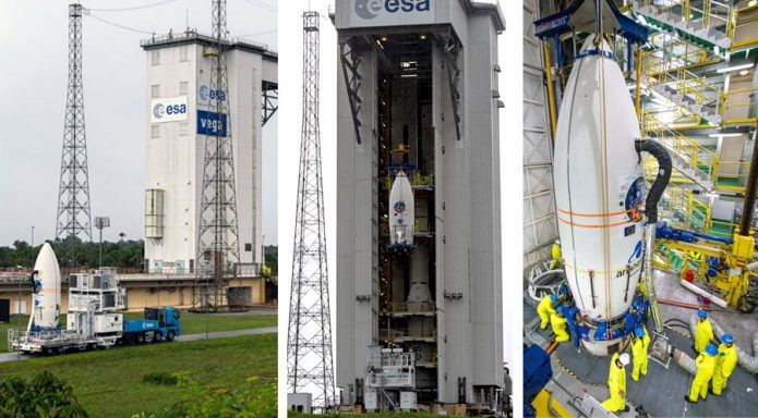 The Vega launcher is integrated for Arianespace's first rideshare mission