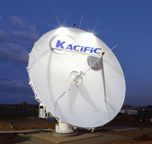 A 9-metre Kacific satellite antenna, similar to the ones being installed at Petro1's facilities.