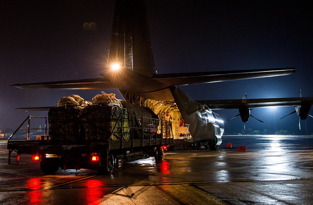 An RAF C-130 Hercules loaded with cargo