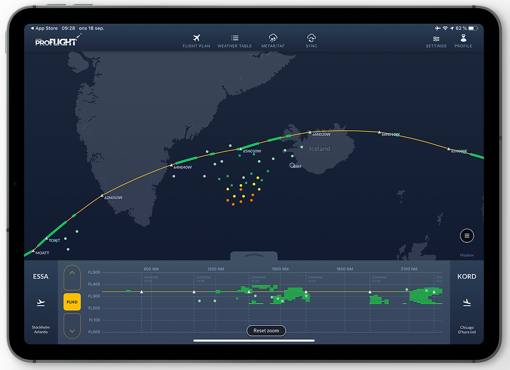 By combining the data with IATA's Turbulence Aware Data (TAD) the pilot can confirm there is only light intensity turbulence ahead, while turbulence of higher intensity lies to the south of the trajectory.