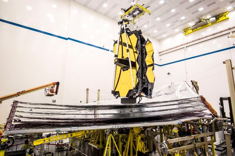 A view of NASA's James Webb Space Telescope five-layer sunshield deployment at Northrop Grumman in Redondo Beach, California.