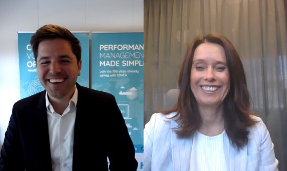 Anders Bruun (CEO, COACH Solutions) and Hege Skryseth (President, Kongsberg Digital) digitally sign the deal