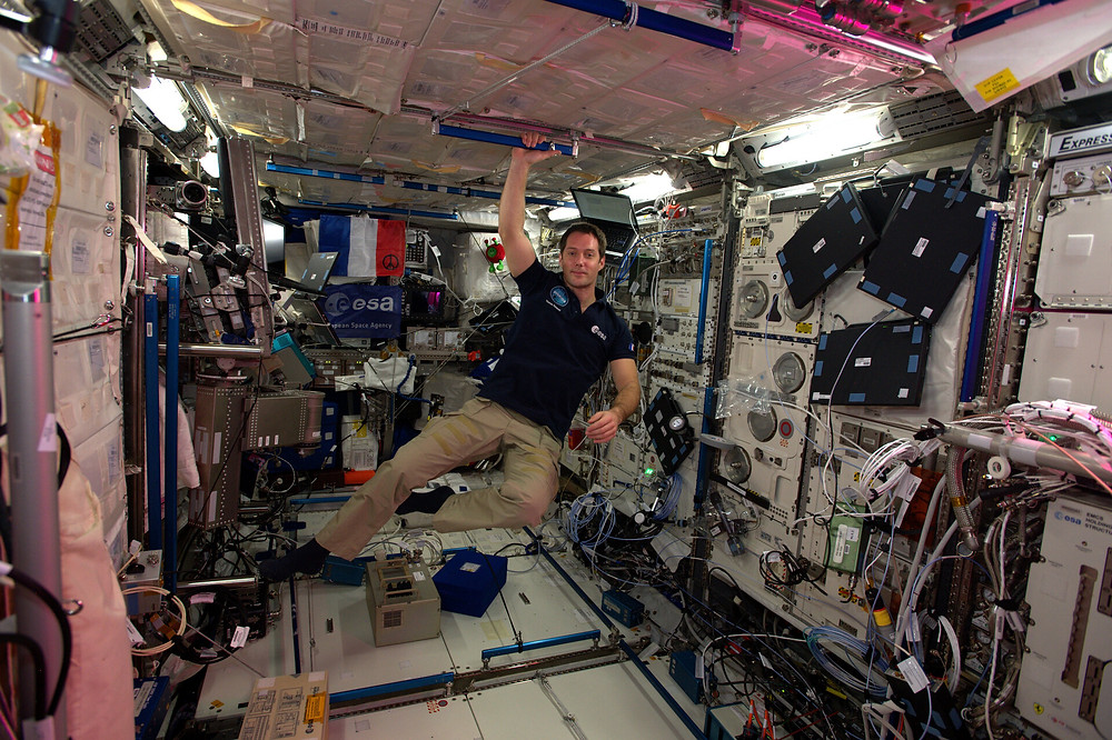 ESA astronaut Thomas Pesquet in the European space laboratory Columbus that is part of the International Space Station.