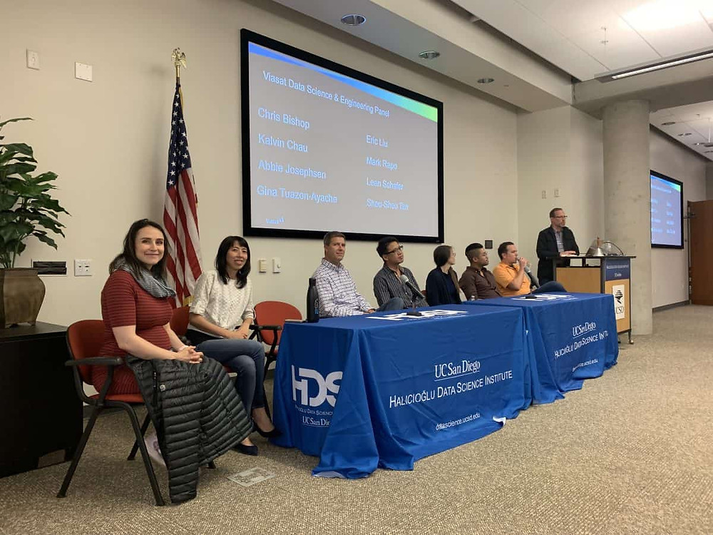 Current Viasat employees lead a data science and engineering panel for UCSD HDSI students. The panel was a part of a student mixer Viasat held for the students in May.