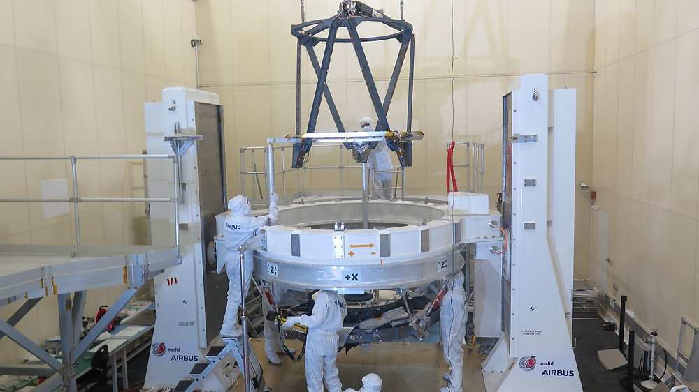 The supporting structure of the telescope's secondary mirror for ESA's Euclid spacecraft being brought together for final integration and optical alignment at Airbus in Toulouse, France