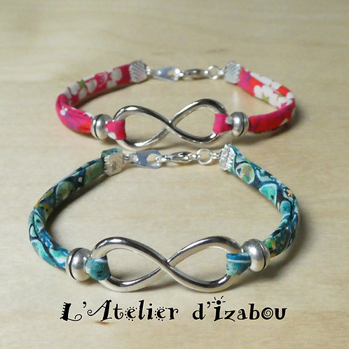 Bracelet cordon liberty et connecteur infini - Coloris au choix