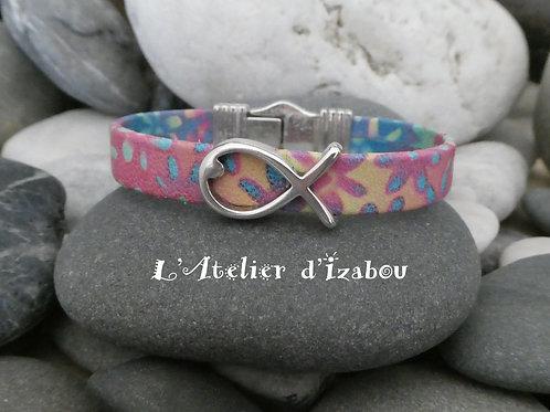 Bracelet femme cuir multicolore et passant poisson