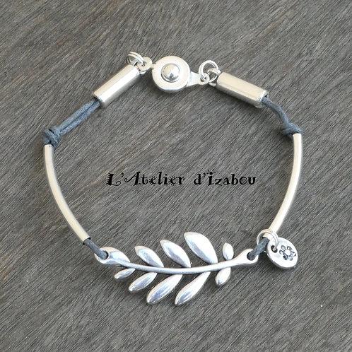 Bracelet paix fin branche d'olivier, breloque fleur coton ciré gris