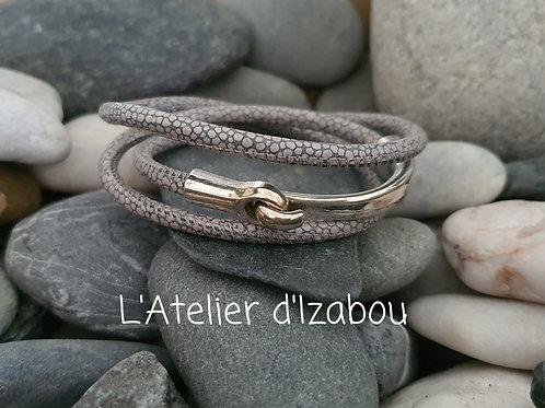 Bracelet cuir reptile