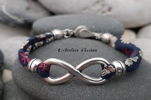 Bracelet cordon liberty et connecteur infini