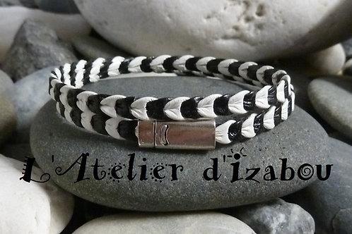 Bracelet fin, homme ou femme cuir entremêlé noir et blanc, fermoir aimanté sécur