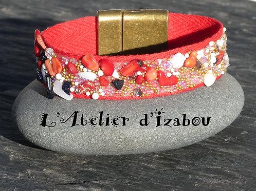Bracelet femme original ruban sergé de coton et cailloux, fermoir bronze