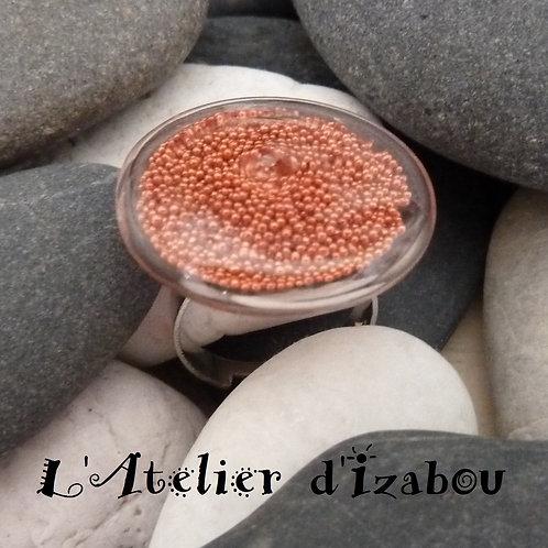 Bague femme réglable ronde micro billes orange réglable