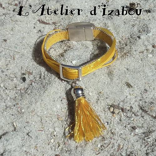 Bracelet soleil femme et son pompon jaune