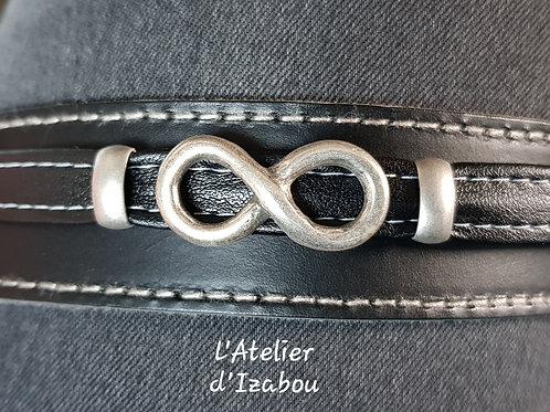 Bracelet homme en cuir noir et passant infini