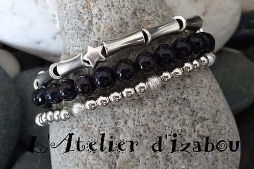 Trio de bracelets fins femme en perles