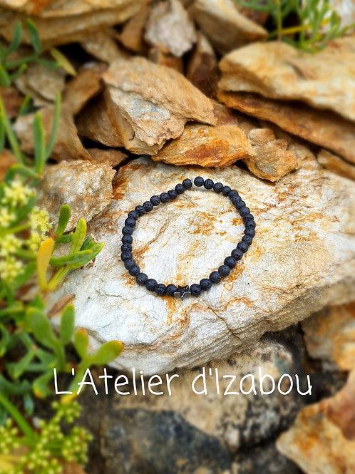 Bracelet noir perles en pierre de lave !