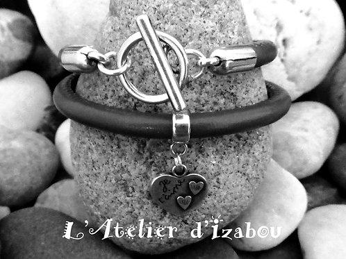 """Bracelet """"Je t'aime"""" cuir rond noir, breloque coeur gravée et fermoir"""