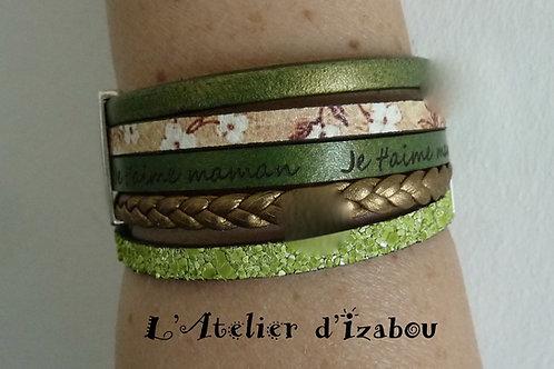 """Bracelet Fête des mères large multirangs cuirs gris verts gravé """"je t'aime maman"""