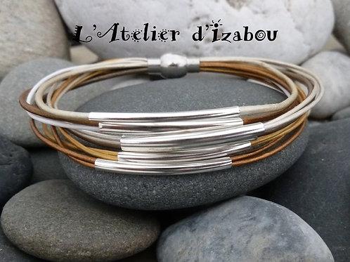 Bracelet octobre rose léger femme multirangs en cuirs métallisés