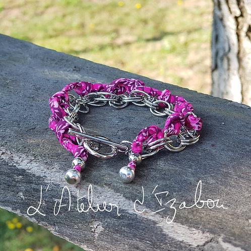 Bracelet chaîne et liberty rose fuchsia à fleurs