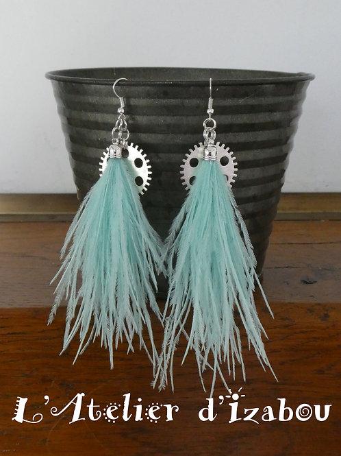 Boucles d'oreilles longues pendantes plumes vert d'eau et engrenage