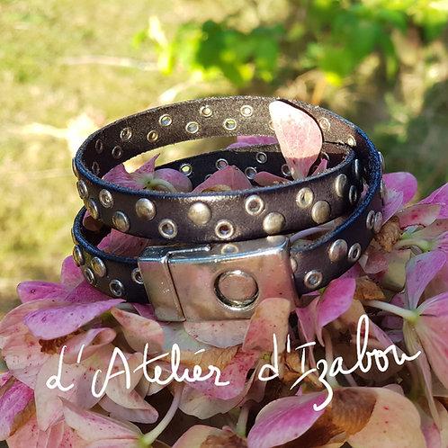 Bracelet masculin féminin double tour cuir riveté noir