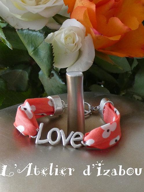 """Bracelet Love, cordon liberty connecteur """"Love"""", fermoir toggle rond"""