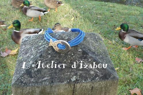 Bracelet femme coton ciré organza bleu et passant poisson