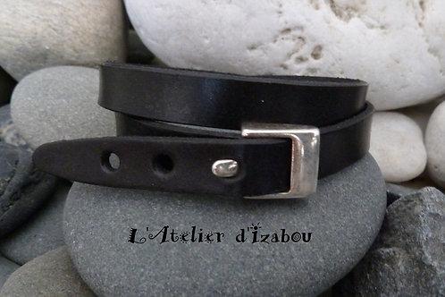 Bracelet masculin féminin double tour réglable cuir noir, fermoir boucle ceintur