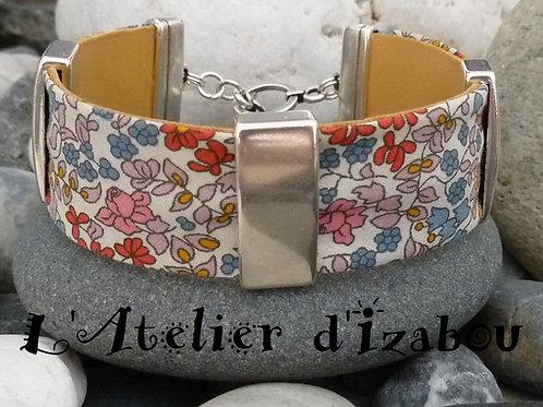 Bracelet large artisanal femme liberty fleurs doublé cuir et passants métal arge