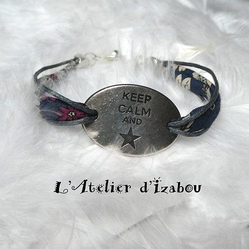Bracelet Keep calm and, cordon liberty marine et fleurs, fermoir pression