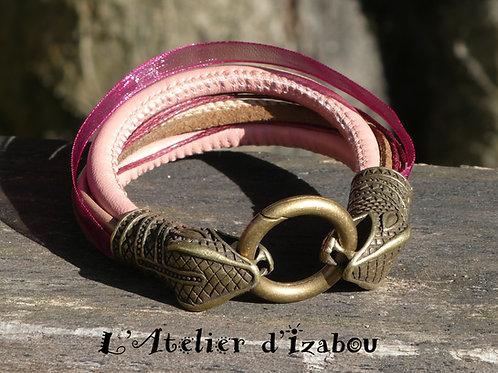 Octobre Rose - Bracelet artisanal femme multitextures de cuirs, organza, coton