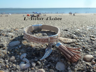 Sur la plage le cuir caviar rappelle les grains du sable !