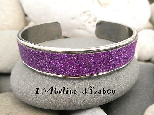 Bracelet jonc ouvert en métal gunmétal et violet brillant