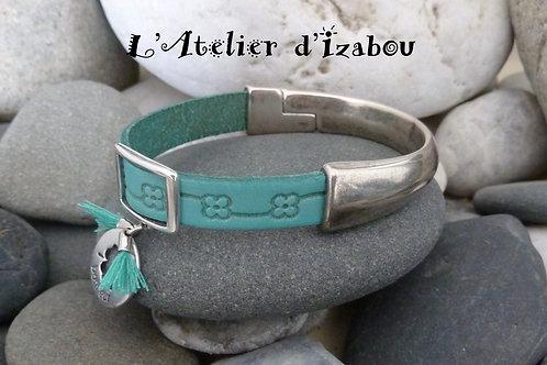 Bracelet demi jonc cuir turquoise Porte Bonheur
