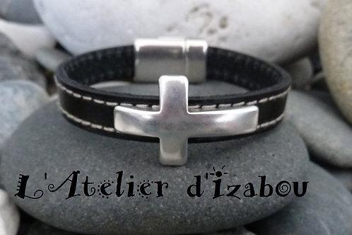 Bracelet mixte homme-femme en cuir double couture noir et sa croix en métal
