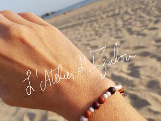 Mélange de couleurs chaleureuse pour ce bracelet en perles naturelles enfilées au gré de mes envies