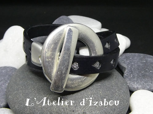 Bracelet original double cuir noir, gouttes d'eau argentée, fermoir toggle géant