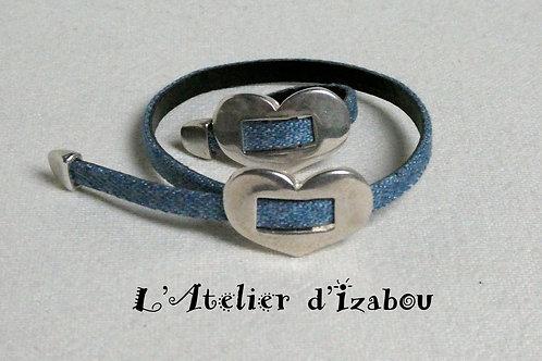 Parure tendance bague et bracelet réglable cuir Jean et passant coeur