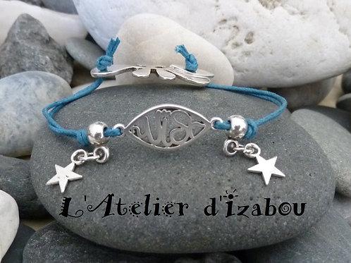 """Bracelet enfant-ado ou femme connecteur """"Wish"""" et breloques étoile, fermoir togg"""