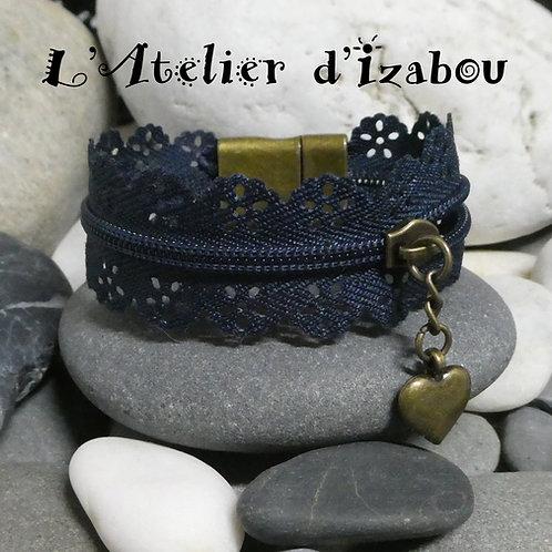 Bracelet original fermeture éclair marine et bronze, breloque coeur