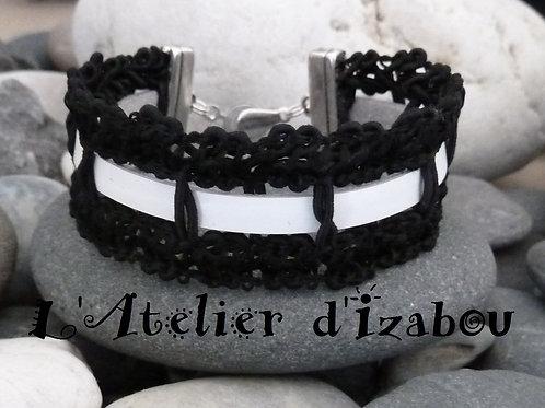 Bracelet noir et blanc femme galon noir et cuir blanc avec fermoir