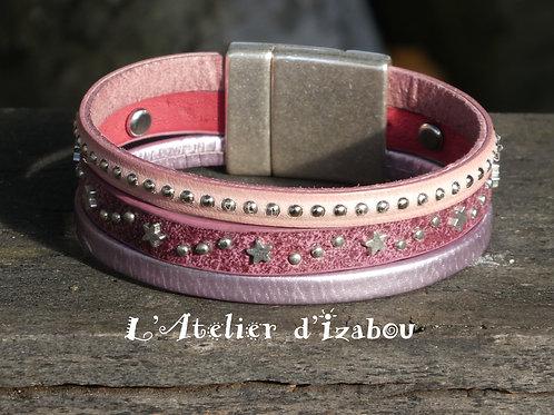 Bracelet original artisanal femme cuirs roses