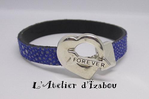 Bracelet St Valentin cuir constellation bleu roi et fermoir coeur flèche forever